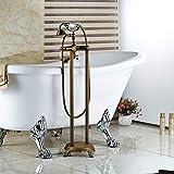 WHFDRHSLT Küchenarmatur Messing Antik Boden Bad Bad Clawfoot Wanne Füllstoff Wasserhahn Handbrause Wasserhahn