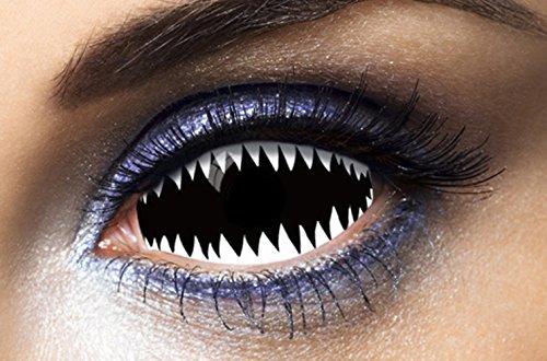 Fashion Lentilles - Le50019 - Lentilles Sclera 019 Dents de Requin Noir/Blanc Duree 1 an