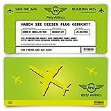 Save the Date Karten zur Hochzeit (10 Stück) - Flugticket Motiv in Grün