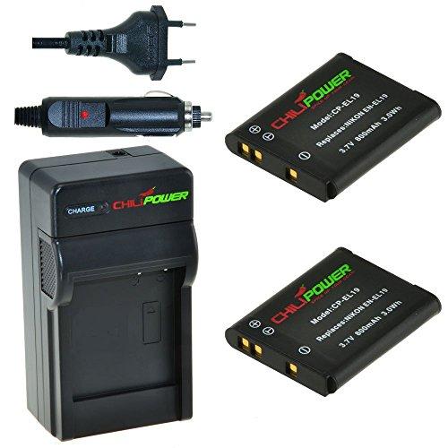 Chili Power EN-EL19Kit: 2x Batería + Cargador para Nikon Coolpix S100, S2500de  S2750, S3100de  S3600, S4100, S4150, S4200, S4300, S4400, S5200, S5300, S6400, S6500, S6600, S6800, MH de 66