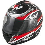 Akira Osaka Casco integral para moto, color Negro/Rojo/Gris, talla XS