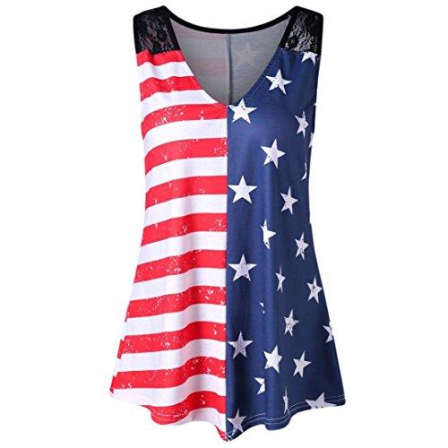 Xmiral Women's American Flag Printed Lace V-Neck Sleeveless Fashion Vest Shirt