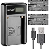 Neewer 90086570 Micro USB Battery Charger + 2-Pack 2600mAh NP-F550/570/530 Batteries for Sony HandyCams + Nanguang CN-160,CN-216,CN-126 LED Light + Polaroid On-Camera Video Lights
