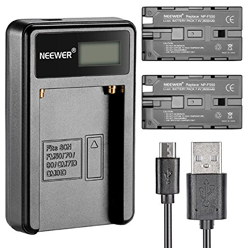 Neewer® Micro USB Akku-Ladegerät + 2er-Pack 2600 mAh NP-F550/570/530 Ersatzakkus für Sony HandyCams, Neewer Nanguang CN-160, CN-216, CN-126 LED-Licht, Polaroid On-Kamera Videolichter Polaroid Ion