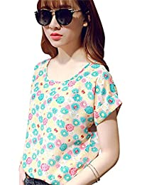 Bold N Elegant Women's Polychiffon Peach & Multicolor Floral Printed Summer/Beachwear Casual Top T-Shirt