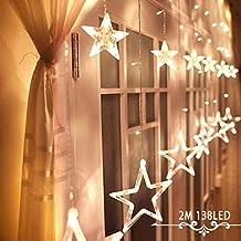 GlobaLink® Estrella Cortina Luces 12 Estrellas 138 LEDs Cortina Luces Cadena Estrellas Luces Hadas Ideal para Navidad Bodas Cumpleaños Fiestas en Hogar Ventana Fachada, etc. (Blanco cálido)