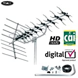 SLx Silver 48Element High Gain TV Aerial Kit, HD Ready For Digital Freeview, [Import UK]