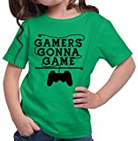 HARIZ  Mädchen T-Shirt Gamers Gonna Game Gamer Gaming Pixel WASD E-Sport Plus Geschenkkarte Grün 140/9-11 Jahre