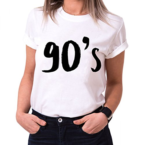 90´s Trendiges Damen T-Shirt Girlie Kurzarm Baumwolle mit Druck, Farbe:Weiß;Größe:S (Frauen Givenchy-t-shirt)