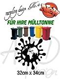 Recycling Design No.4 - ***Mülltonnenaufkleber/ Sticker/ Tattoo*** frei wählbare Wunschfolienfarbe!
