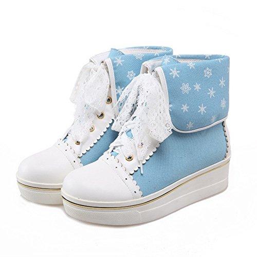 VogueZone009 Damen Mittler Absatz Rein Rund Zehe Blend-Materialien Schnüren Stiefel Blau