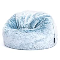 icon Childrens Faux Fur Bean Bag Chair - Large, 65cm x 45cm, Luxurious Furry Living Room Kids Bean Bags