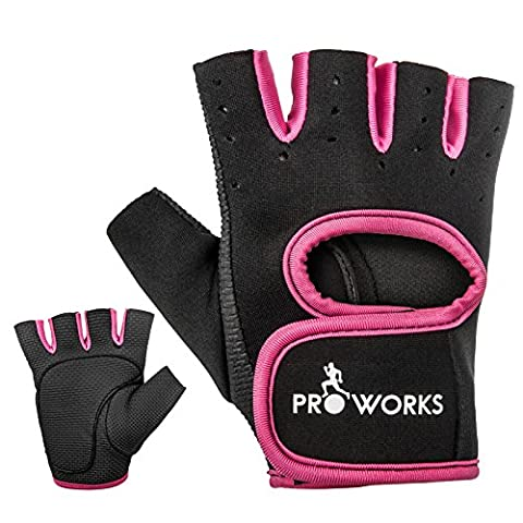 Proworks Women's Padded Grip Fingerless Gym Gloves for Weight Lifting,