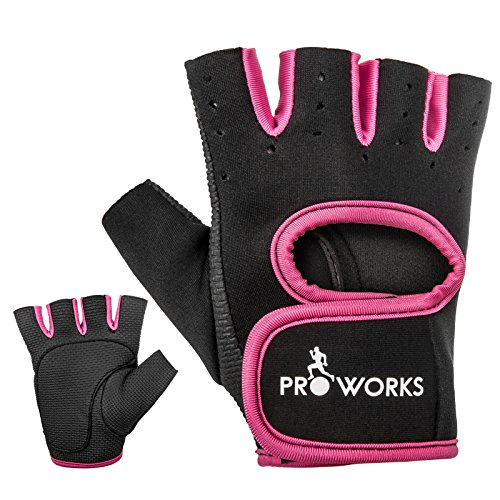 51J0qy29V4L - BEST BUY #1 Proworks Women's Padded Grip Fingerless Gym Gloves for Weight Lifting, Cross Training, Exercise Bikes & More - Black with Pink Trim (Medium) Reviews and price compare uk