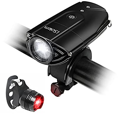 [Touch Sensor Switch] Bike Light, iSolem Rechargeble Super Bright Waterproof Cycling Front Headlight, Red Taillight [Battery Powered], 3 Light Models from Weator