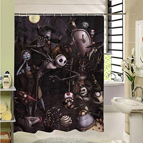 hysxm Wasserdichte 3D Halloween Duschvorhang Nightmare Before Christmas Ghost Skeleton Castle Stil Bad Vorhänge Badezimmer Zubehör-180(H)*180(W) ()