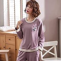 YTNGA Pijamas De Mujer Conjuntos de Pijama de algodón Ropa dedormir demanga Larga Paramujer Pijama de Punto Suave Big Yards, 88018, M
