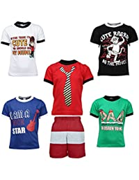 Gkidz Boys Pack of 5 Half Sleeve T-Shirts and Bermudas (JB5PCKATT-1_N_BER-001_Multi Color)