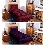 """BLENZZA DECO SUPER SAVER COMBO OF 300 TC 2 SINGLE PLAIN COTTON BEDSHEETS WITH 2 PILLOW COVERS(60""""x90"""")MAROON & PURPLE"""