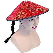 4fe84782a4e5 Bristol Novelty - Chapeau de coolie chinois BH441 - Tissu rouge et natte -  Taille unique
