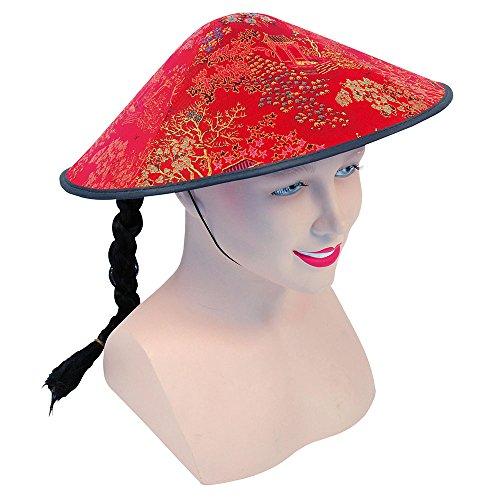 Bristol Novelty bh441Chinesischer Hut mit Zopf, Rot, -