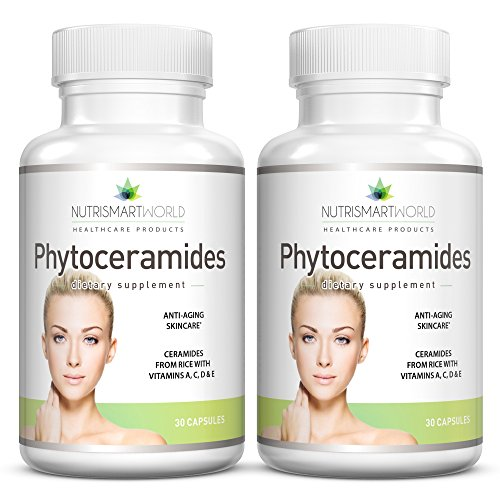 Anti-ageing Rice-derived Phytoceramides with Ceramide-PCD® from ORYZA. With Anti-oxidant Vitamins A, C, D and E for Skin Cell Rejuvenation and Hydration (Wheat & Gluten Free!) 2 month supply. 2 x bottles. Test