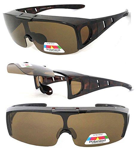 VeryHobby Polarisiert Flip Up Fit über Sonnenbrillen Abdeckung Rx Gläser Seitenschutz 150 Mittel Transparent Brown Frame/Bernstein Objektiv