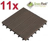 Green Plank 11 STÜCK = 0,99 m² WPC KLICK-FLIESEN 30x30 CM ANTHRAZIT - 70% HOLZANTEIL (FICHTE)