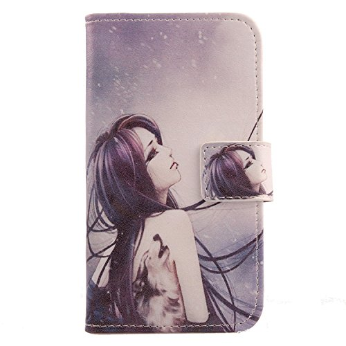"""Lankashi Housse Case Cuir Cover Flip Etui Coque Protection Skin Pour Apple iPhone 7 4.7"""" Zither Girl Design Wolf Girl"""