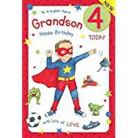 Super Hero Grandson Age 4 ~ Large Luxury 4th Birthday Card
