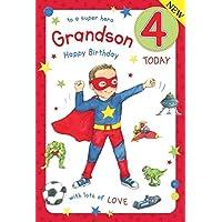 Super Hero Grandson Age 4 ~ Large Luxury 4th Birthday Card