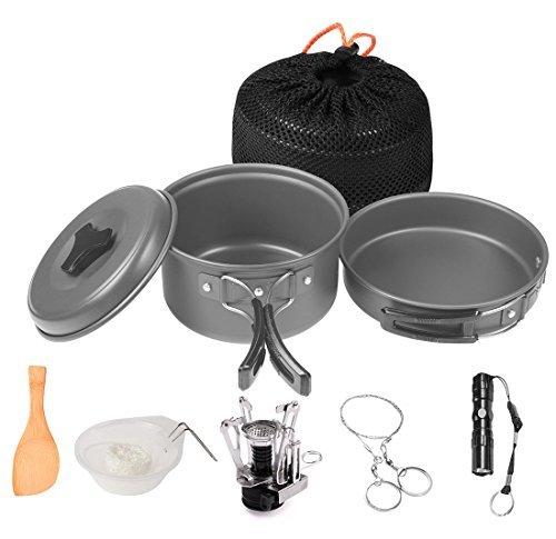 Wolfyok Camping Kochgeschirr Set, Kochtopf 12 Teilig mit Campingkocher, Portable Adhäsiv Einfach zu Reinigen, Outdoor Cookware Kit mit Hygienisch Piezozündung Taschenlampe usw.