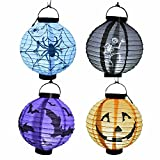 Rubility®Linterna de Halloween de la calabaza LED linternas de papel para decoración de Halloween interior / exterior 20cm 4pcs / lot