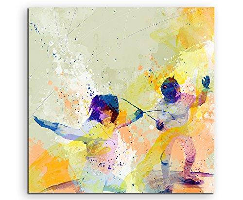 Fechten III 60x60cm Wandbild SPORTBILD Aquarell Art tolle Farben von Paul Sinus