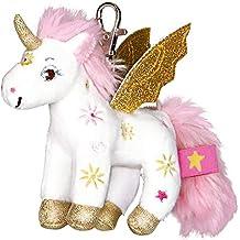 Einhorn Paradies Colgante de Peluche Pequeño Unicornio Sol Suria con Alas Doradas y Brillante Cuerno Serie