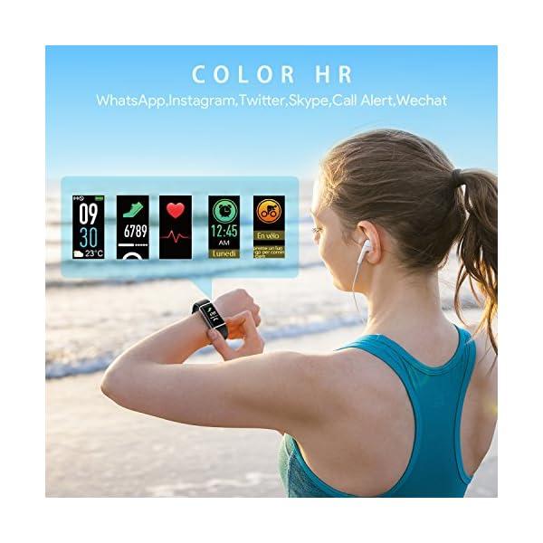 NAIXUES Smartwatch, Reloj Inteligente IP67 con Presión Arterial, 10 Modos de Deporte, Pulsómetro, Monitor de Sueño, Notificaciones Inteligentes, Smartwatch Hombre Mujer para iOS y Android (negro2) 4