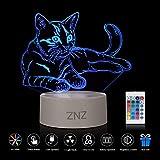 3D LED Lampe Nachtlicht - ZNZ 16 Farben USB betrieben Tisch Dimmbare Nachtlicht mit Touch-Schalter Fernbedienung für Kinder, 3D Lichter Optische Täuschungen Schreibtischlampe für Raumdekoration (Katze) [Energieklasse A +]