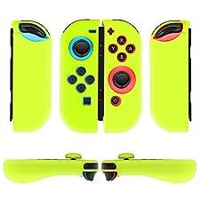TNP Nintendo Switch Joy-Con Grip Gel Guards with Thumb Grips Caps - Protective Case Covers Anti-Slip Ergonomic Lightweight Design Joy Con Comfort Grip Controller Skin Accessories (1 Pair Neon Yellow)