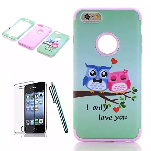 iPhone 6 Plus Case,Lantier [3 Pieces High Impact Hybrid Shockproof Durable]I Love You Owls 3 in 1 Silicone PC Tough Rugged Armor Combo Back Cover for Apple iPhone Plus 6 5.5 inch/white ILove You OwlsLOVE/Purple