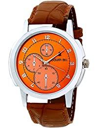 Golden Bell Original Chronograph Look Orange Dial Tan Brown Strap Analog Wrist Watch For Men - GB-587