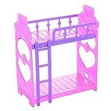 CYNDIE 2pcs accesorios de dormitorio de dos pisos cama litera Cute 14 cm de plástico cama doble de juguete para muñeca Barbie color aleatorio