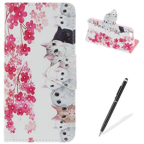 iPhone 6 Plus/6S Plus Case,iPhone 6 Plus/6S Plus Wallet Case,MAGQI Premium Flip PU Leather Money Pouch Case Colorful Painting Petals Pattern [Stand Function] [Magnetic Closure] Protective with Card Slots Bult-in Soft Inner Bumper Book Style Cover for iPhone 6 Plus/6S Plus - Cats