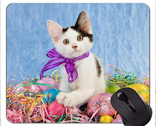 Mauspad mit genähtem Rand, Baby-Tier-Osterei-Kätzchen-Tier-Ostern-Katzen-Ei-Innenministerium-Computer-Zubehör