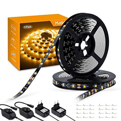 MustWin LED Streifen 6M LED Band Dimmbar Lichtband 360 LEDs 3000K Warmweiß Selbstklebend 2835SMD 300LM mit 12V Netzteil Innenbeleuchtung für Deko Schränke Zimmer Party (2 Stück)
