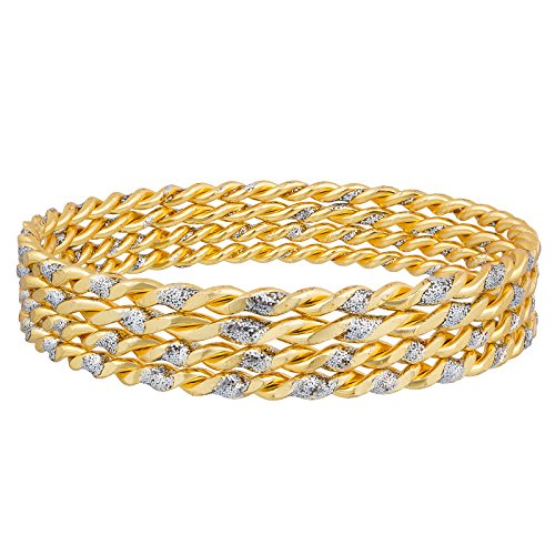 The Luxor Designer Gold Plated Daily Wear Jhari Studded Gold Plated Bangle Set For Women (2.4)