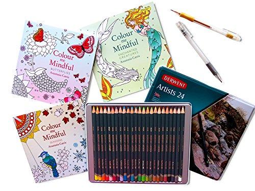 new-derwent-gift-set-3-colour-me-mindful-adult-colouring-books-please-note-size-plus-derwent-artists