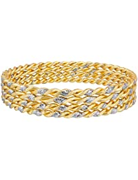 The Luxor Designer Gold Plated Daily Wear Jhari Studded Gold Plated Bangle Set For Women