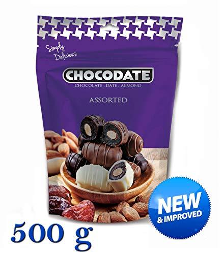 Preisvergleich Produktbild 500 g Chocodate - Schokolade Datteln mit Mandeln Sortiert Extra Economy-Familienpackung,  neue und verbesserte Qualität