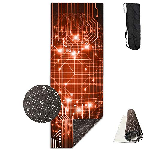 FGRYGF Abstract Technology Circuit Yoga Mat - Yoga Matte - Non-Slip Lining - Easy to Clean - Latex-Free - Lightweight and Durable - Long 180 Width 61cm