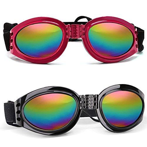 FRETOD Haustier-Hunde Sonnenbrille - 2 Stück Mode Schutzbrillen Eyewear Waterproof UV Protection Big Dog (Black & Red)